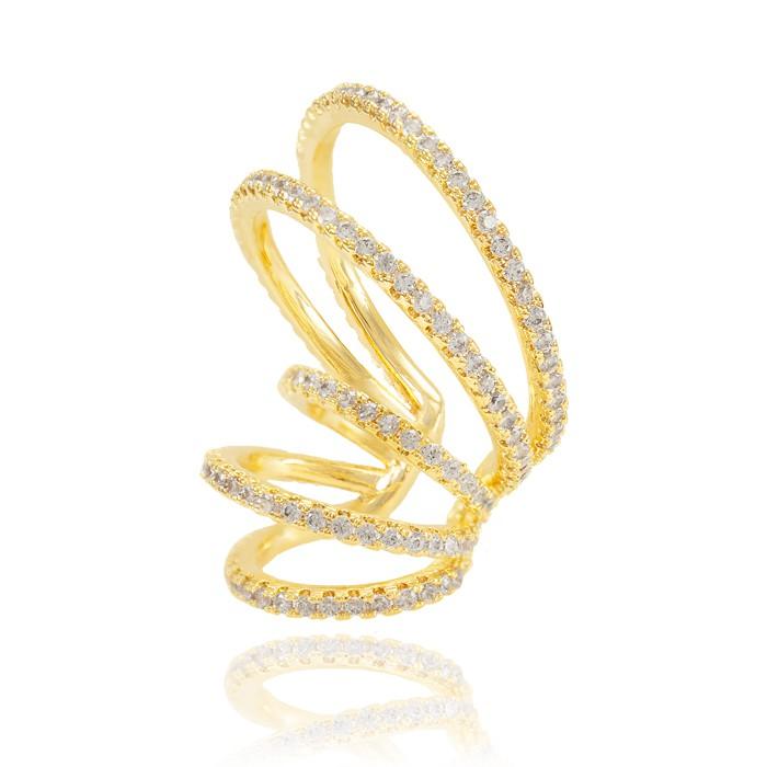 Piercing Fake Folheado Ouro 18K Cinco Aros com Micro Zircônia Cristal