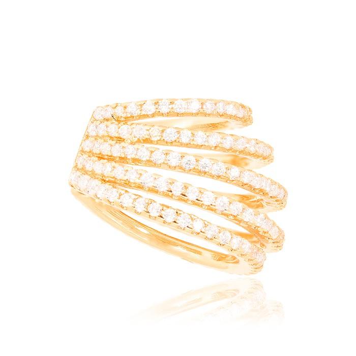 Piercing Fake Folheado Ouro 18K Cinco Aros de Micro Zircônia Cristal