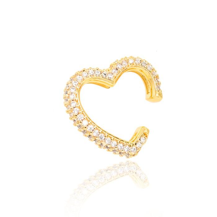 Piercing Fake Folheado Ouro 18K Coração com Micro Zircônia