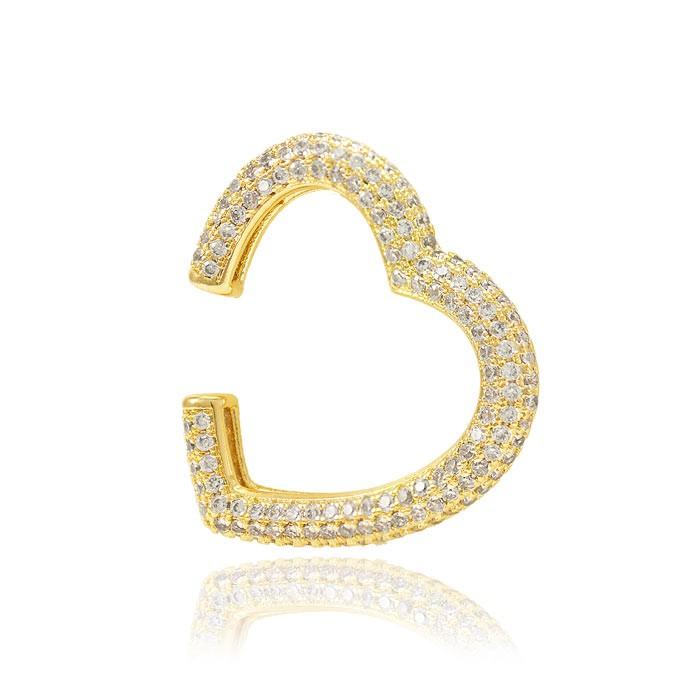 Piercing Fake Folheado Ouro 18K Coração com Micro Zircônia Cristal