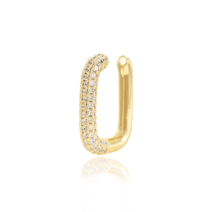 Piercing Fake Folheado Ouro 18K Elo com Micro Zircônia Cristal