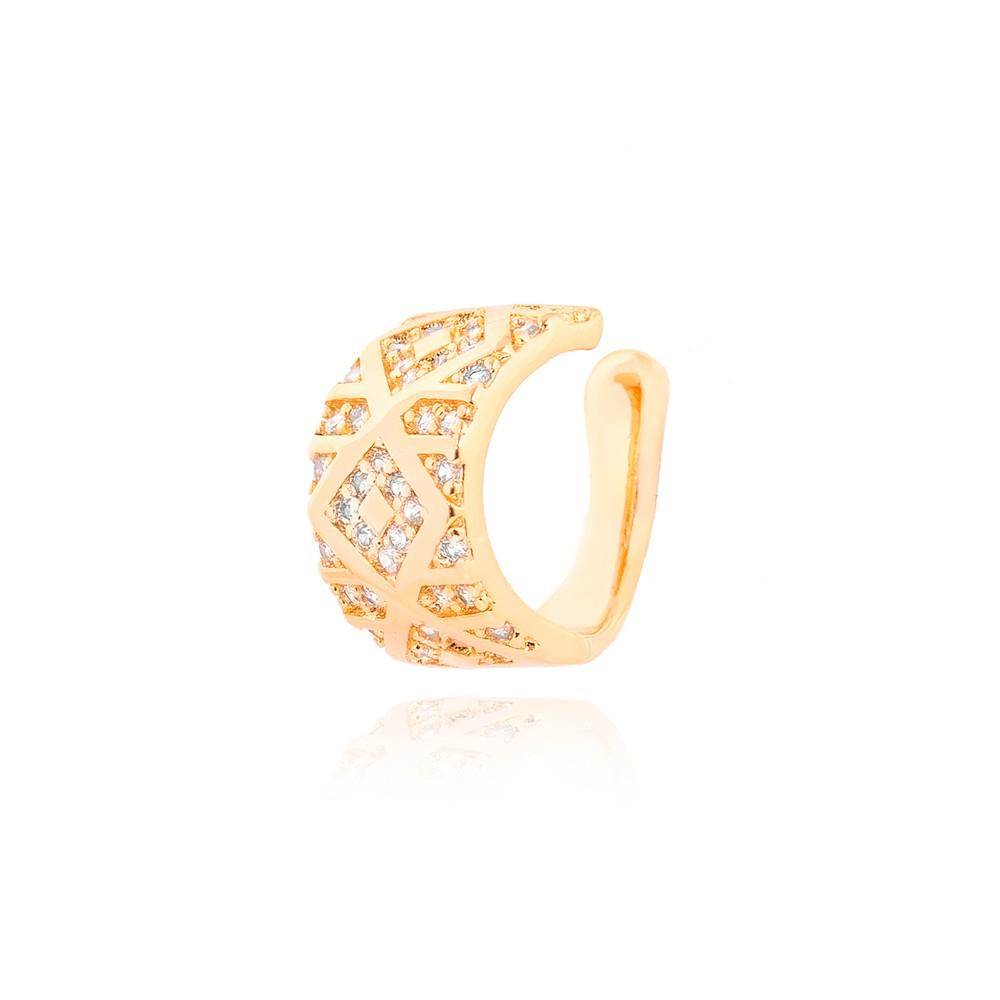 Piercing Fake Grosso Folheado Ouro 18K com Losangolo e Detalhes de Micro Zircônia Cristal