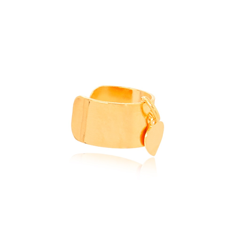 Piercing Fake Liso Grosso com Coração Pendurado Folheado Ouro 18K