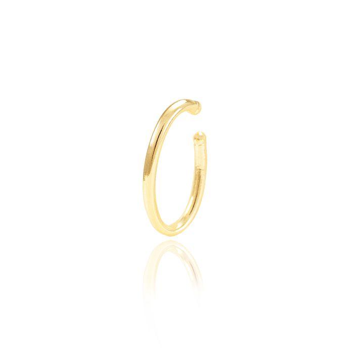 Piercing Fake Oval Folheado Ouro 18K Liso com Detalhe na Ponta