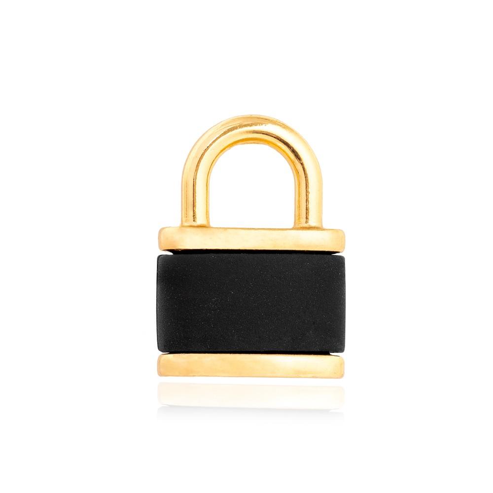 Pingente Cadeado Folheado Ouro 18K com Detalhes em Resina Negra