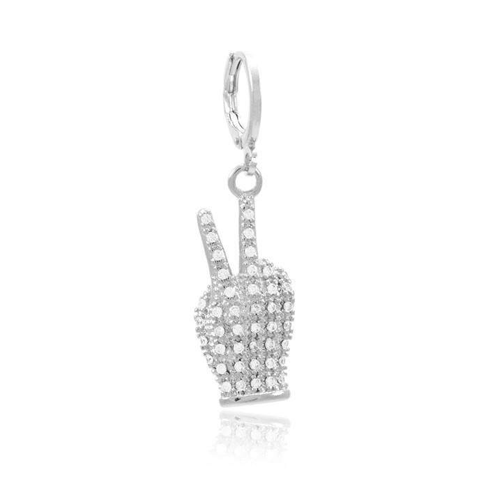 Pingente Clip Folheado Ródio Mão com Símbolo Paz e Amor Micro Zircônia Cristal