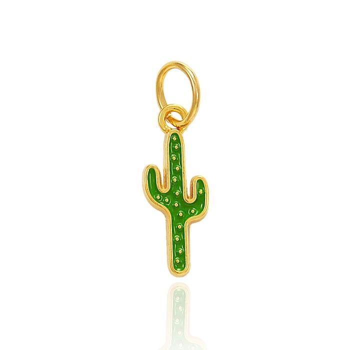 Pingente Folheado Ouro 18K Cacto com Resina Verde