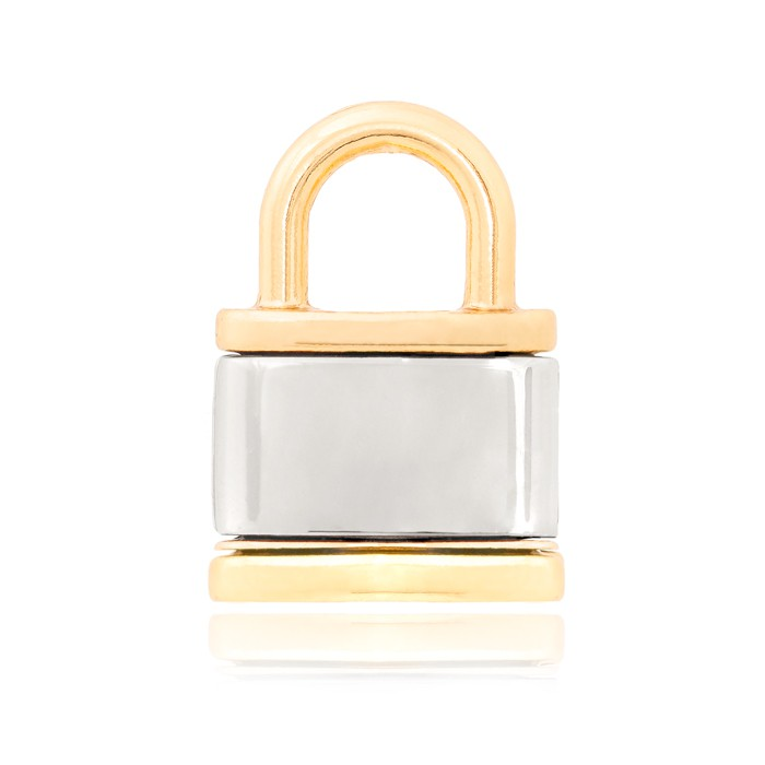 Pingente Folheado Ouro 18K Cadeado Liso com Dourado e Steel Free