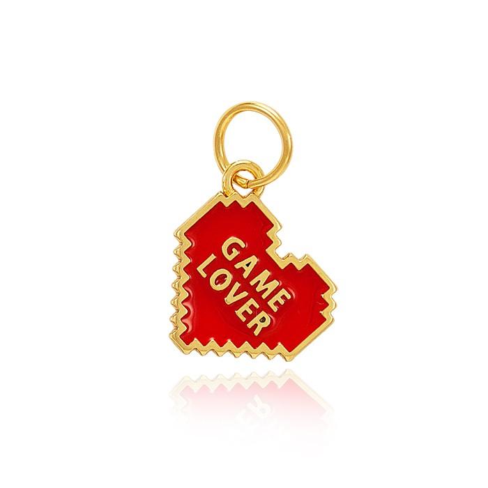 Pingente Folheado Ouro 18K Coração Game Lover com Resina Vermelha