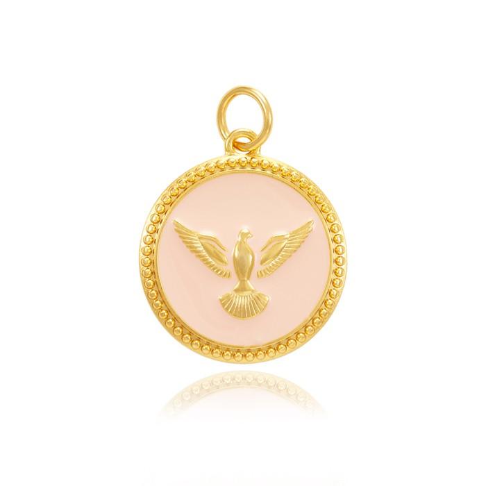 Pingente Folheado Ouro 18K Mandala Resina Rosa Espírito Santo