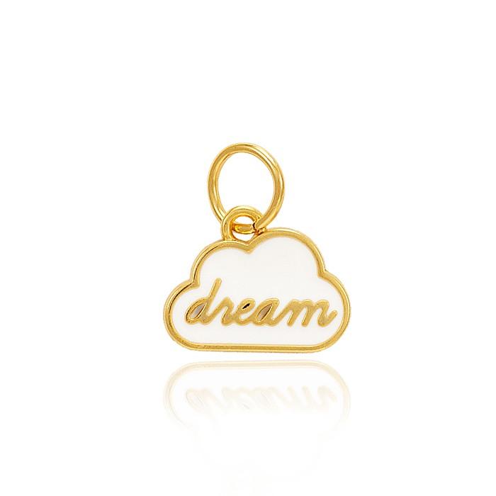 Pingente Folheado Ouro 18K Nuvem Dream com Resina Branca