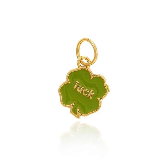 Pingente Folheado Ouro 18K Trevo de Quatro Folhas Luck com Resina Verde