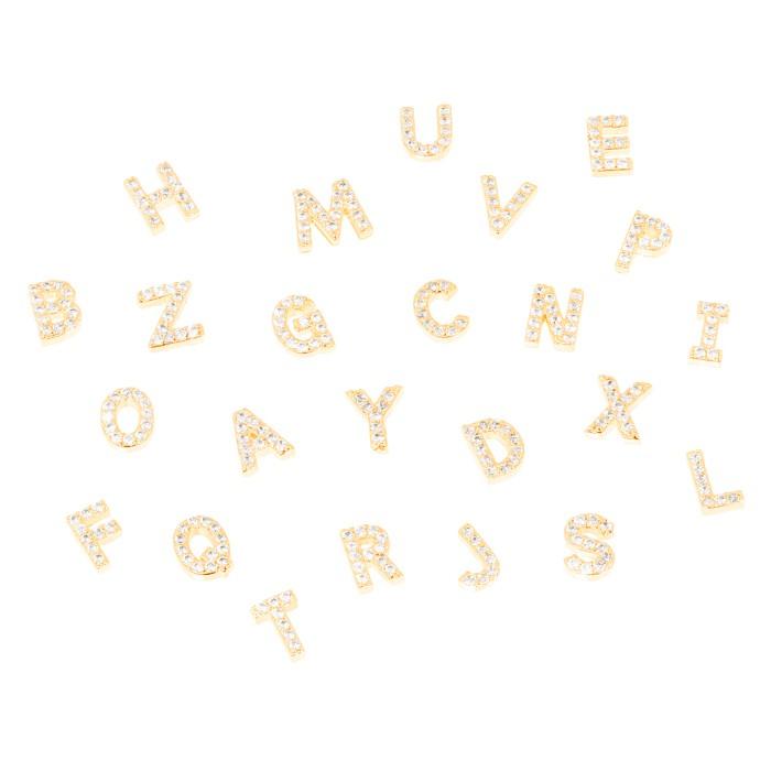 Pingente Relicário Folheado Ouro 18K Letras com Micro Zircônia Cristal