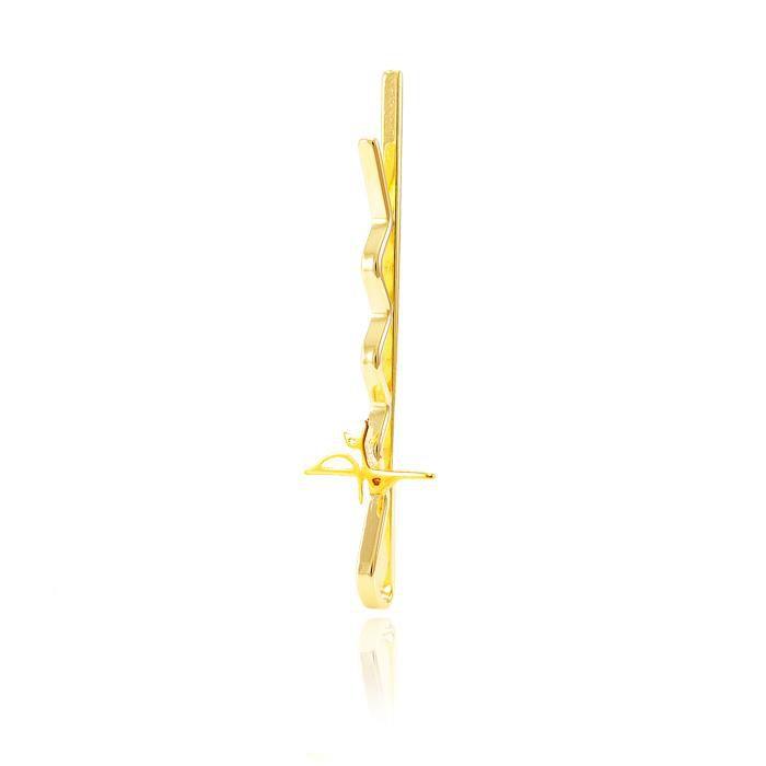 Presilha Folheada Ouro 18K Fé em Forma de Cruz