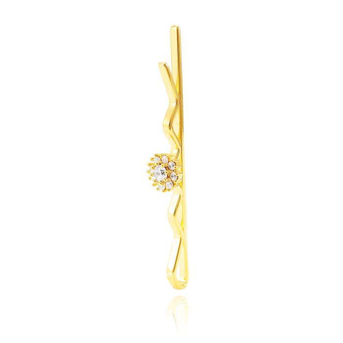 Presilha Folheada Ouro 18K Flor com Zircônia