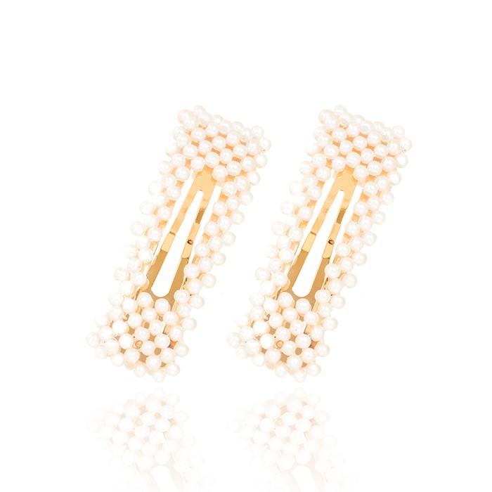 Presilha Retangular Folheado Ouro 18K com Pérolas Espaçadas e Espaço Retangular no Centro