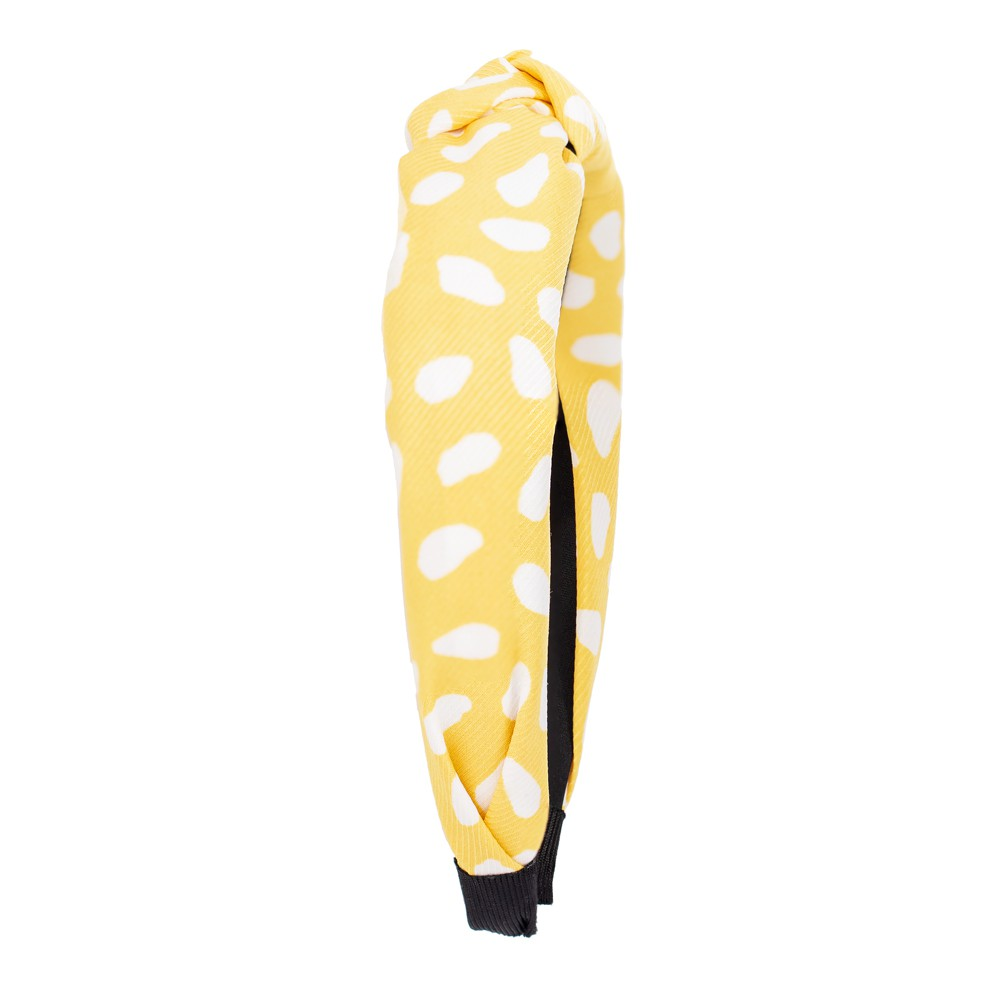 Tiara Nó Amarela com Bolinhas Brancas