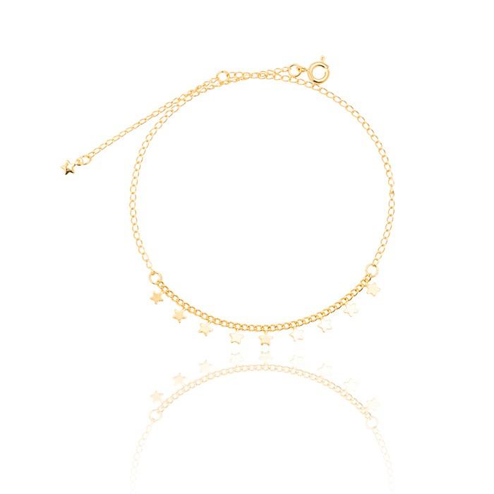 Tornozeleira Folheado Ouro 18K Estrelas