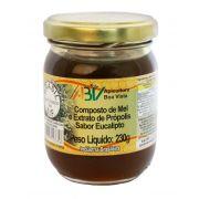 Composto de mel e extrato de própolis sabor eucalipto pote vidro 230g