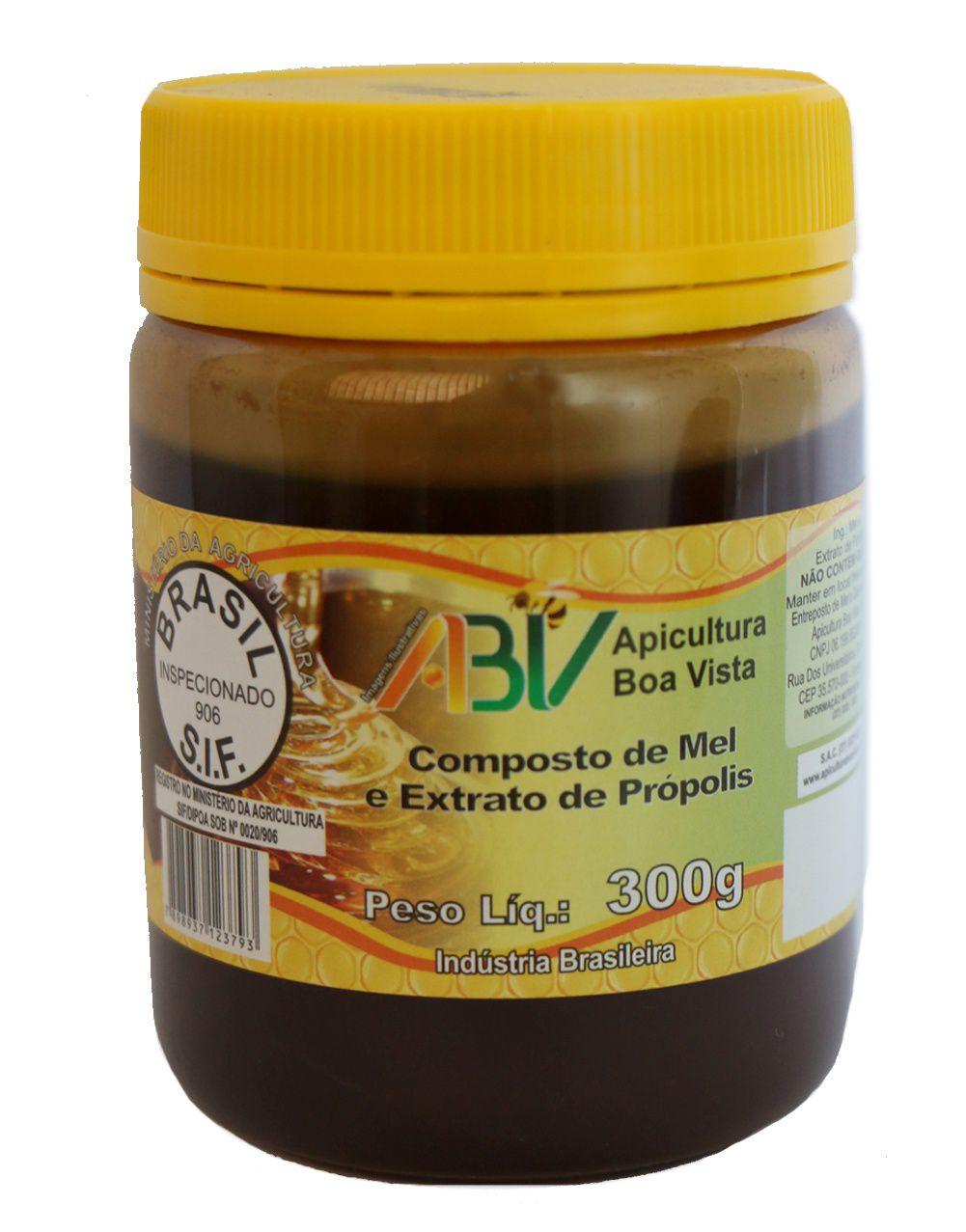Composto de mel e extrato de própolis pote plástico 300g