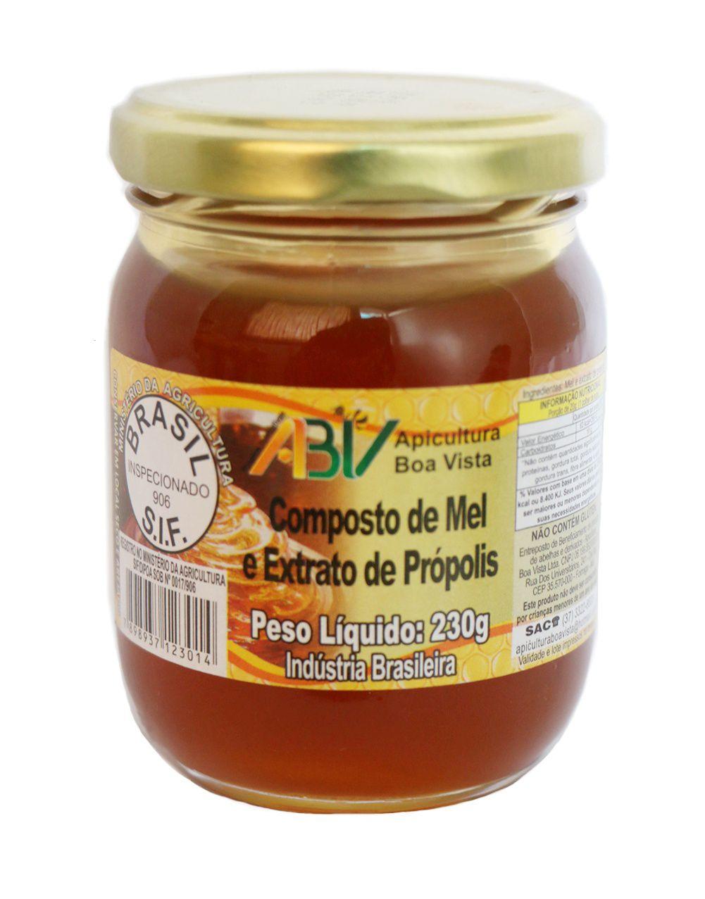 Composto de mel e extrato de própolis pote vidro 230g