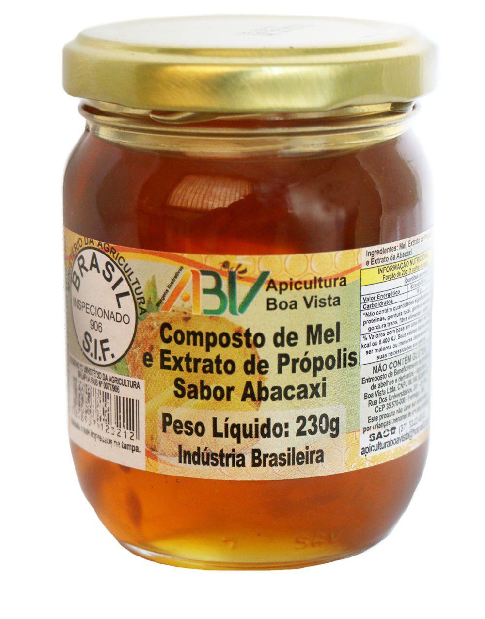 Composto de mel e extrato de própolis sabor abacaxi pote vidro 230g