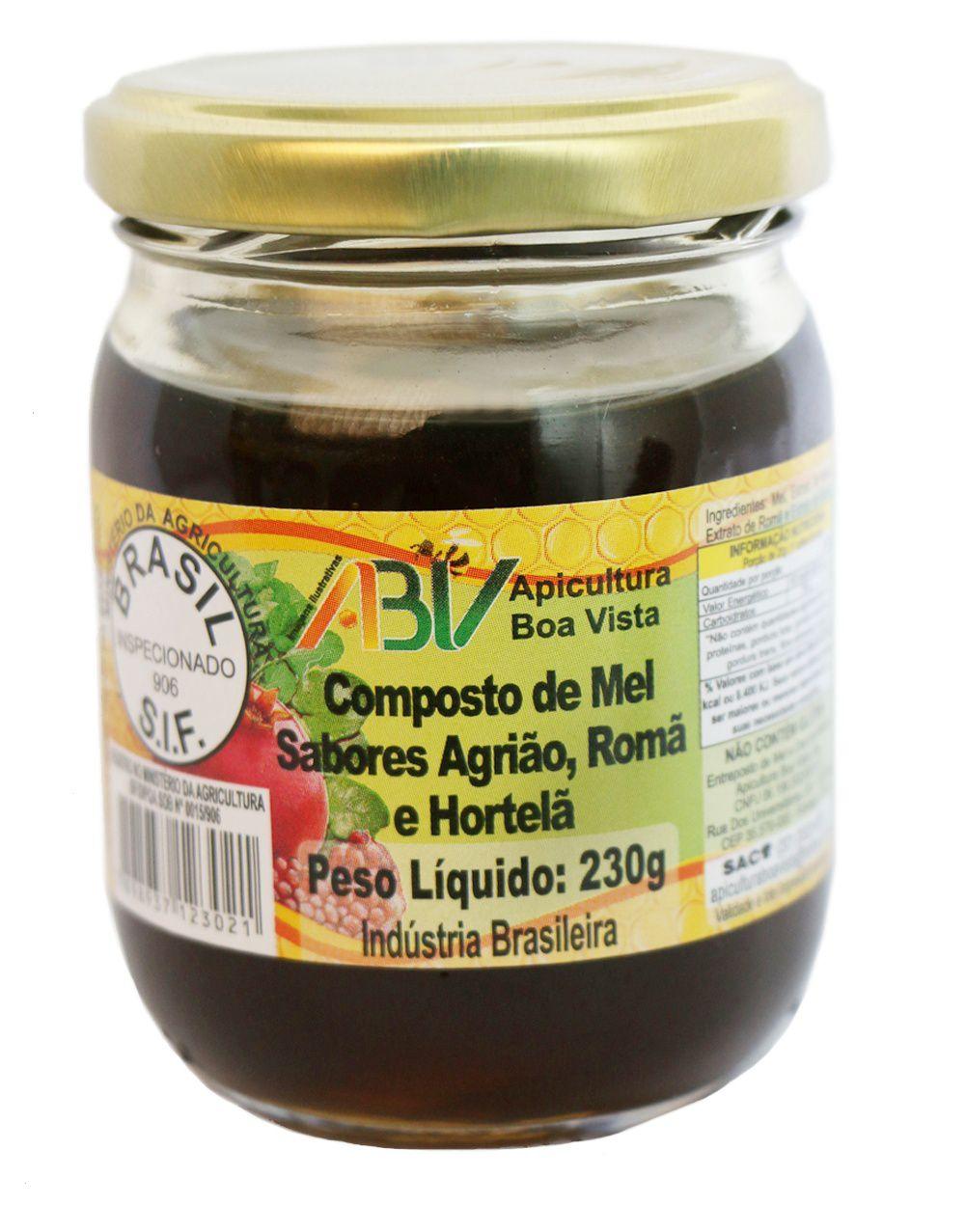 Composto de mel e extrato de própolis sabor agrião, romã e hortelã pote vidro 230g