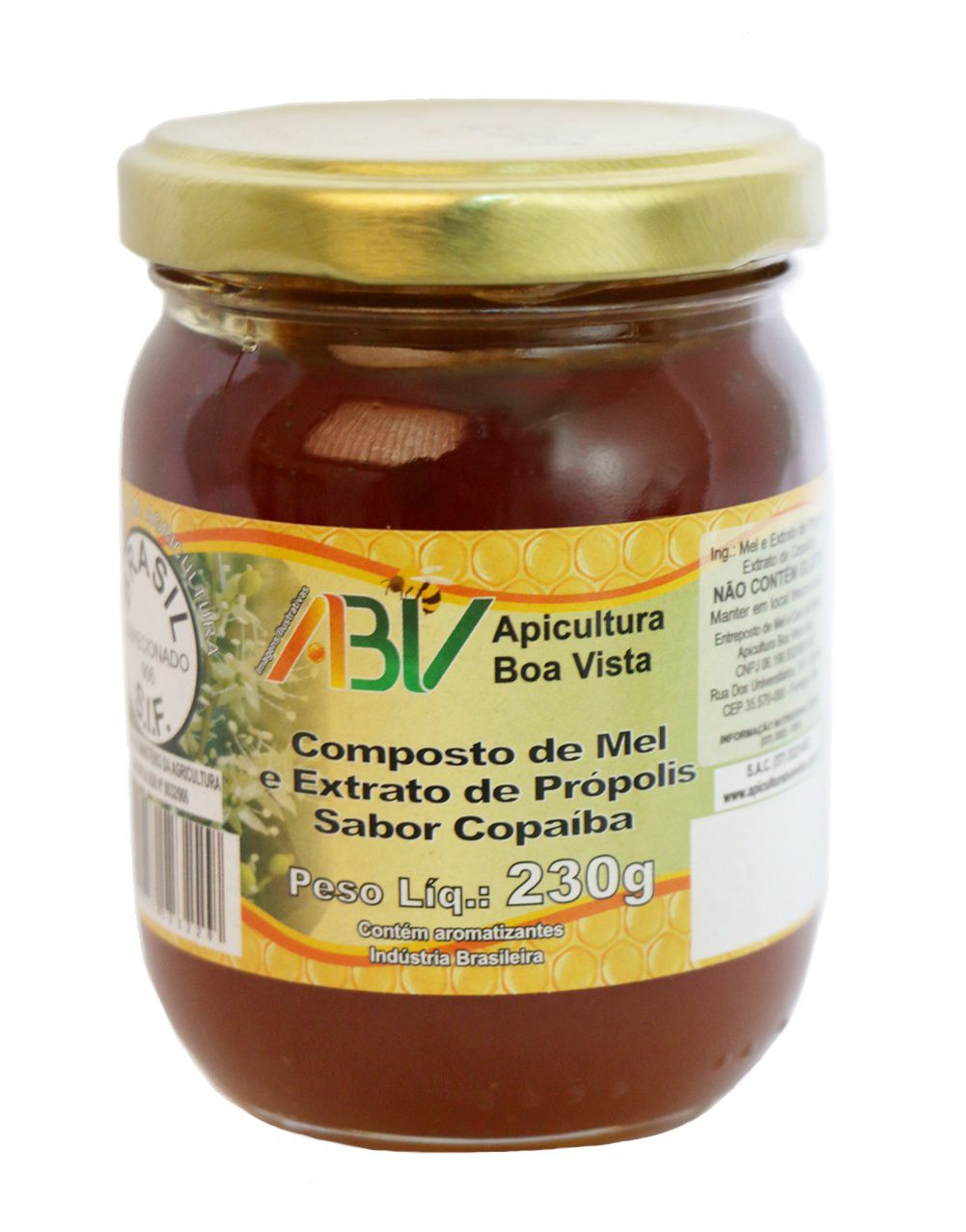 Composto de mel e extrato de própolis sabor copaíba pote vidro 230g
