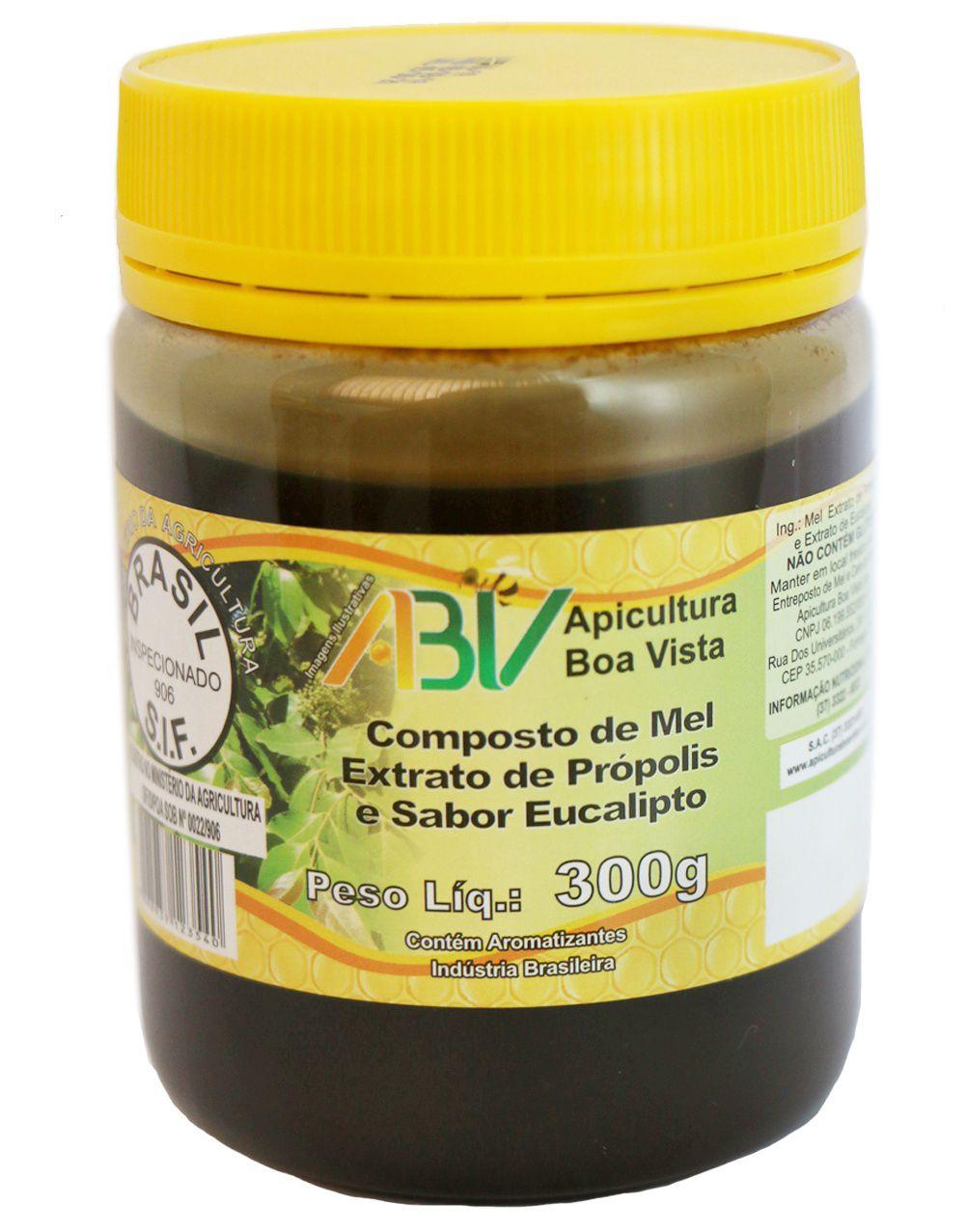 Composto de mel e extrato de própolis sabor eucalipto pote plástico 300g