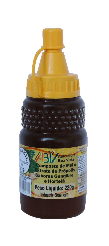 Composto de mel e extrato de própolis sabor gengibre e hortelã bisnaga 220g