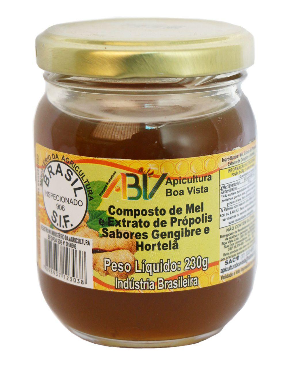 Composto de mel e extrato de própolis sabor gengibre e hortelã pote vidro 230g