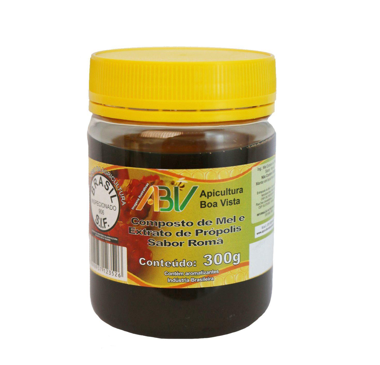 Composto de mel e extrato de própolis sabor romã pote plástico 300g