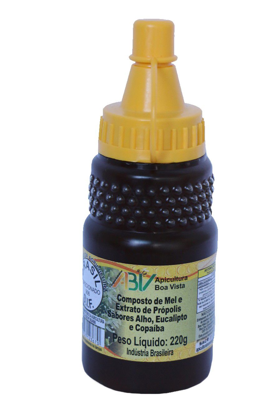 Composto de mel e extrato de própolis sabores alho, eucalipto e copaíba bisnaga 220g