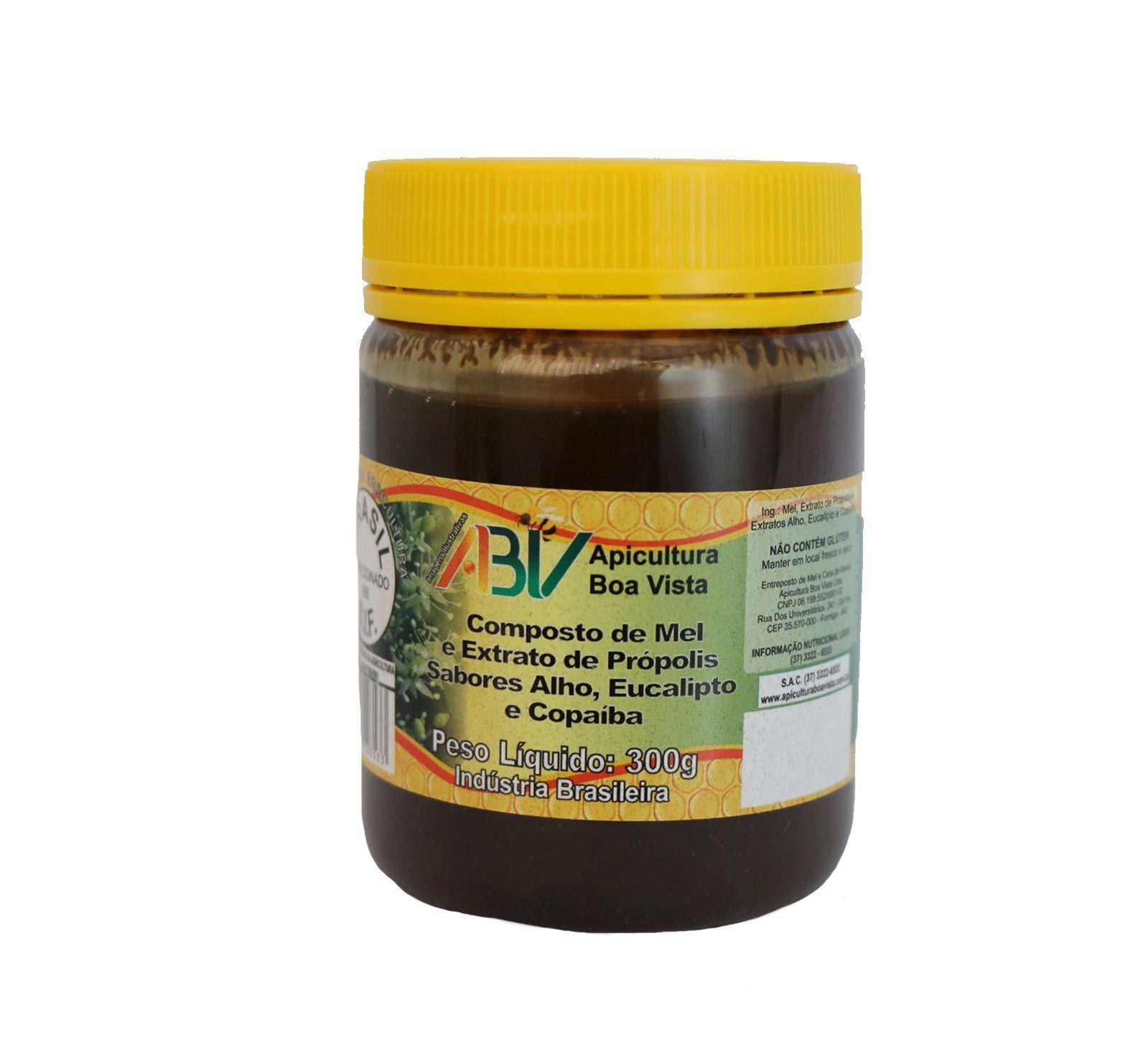 Composto de mel e extrato de própolis - sabores alho, eucalipto e copaíba pote plástico 300g