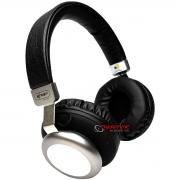 Fone de ouvido sem fio Bluetooth com rádio FM preto