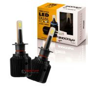 Kit de lâmpadas LED Dual Color Headlight Shocklight  tipo xenon H1 25W ilumina branco e amarelo