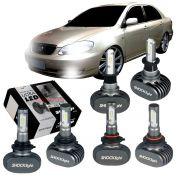 Kit Ultra LED Corolla 2003 2004 2005 2006 2007 tipo xenon farol alto HB3 farol baixo HB4 e milha H3 50W