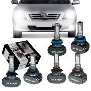 Kit Ultra LED Corolla 2008 2009 2010 2011 tipo xenon farol alto HB3 baixo HB4 milha H11 50W