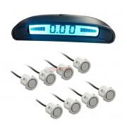Sensor de estacionamento Over Vision 8 pontos display de painel prata