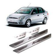 Soleira Fiesta Hatch Sedan 2002 até 2013 4 portas em aço inox escovada e com gravação a laser