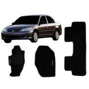 Tapete Carpete Honda Civic 2000 2001 2002 2003 2004 2005 2006 Personalizado com bordado nos dois tapetes dianteiros (3 peças)