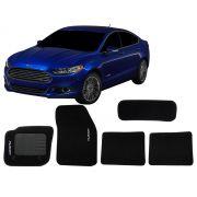 Tapete Carpete Ford Fusion 2013 e diante Personalizado com bordado nos dois tapetes dianteiros (5 peças)