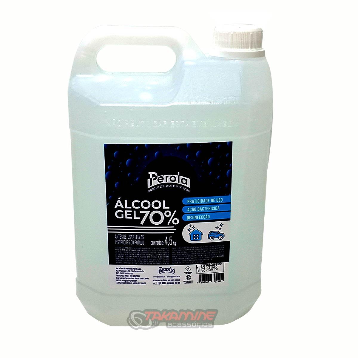 Álcool Gel 70% ação bactericida Galão 4,5 quilos