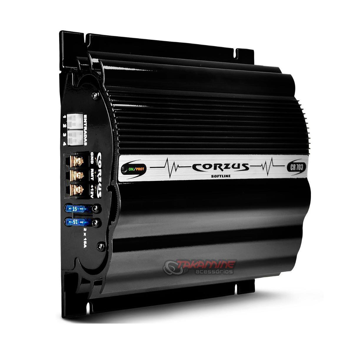 Amplificador CR703 Corzus 3 canais estéreo e mono 280WRMS