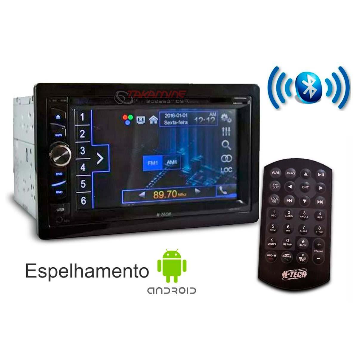 Central multimídia 2 Din com Bluetooth, espelhamento celular, entrada USB e DVD player