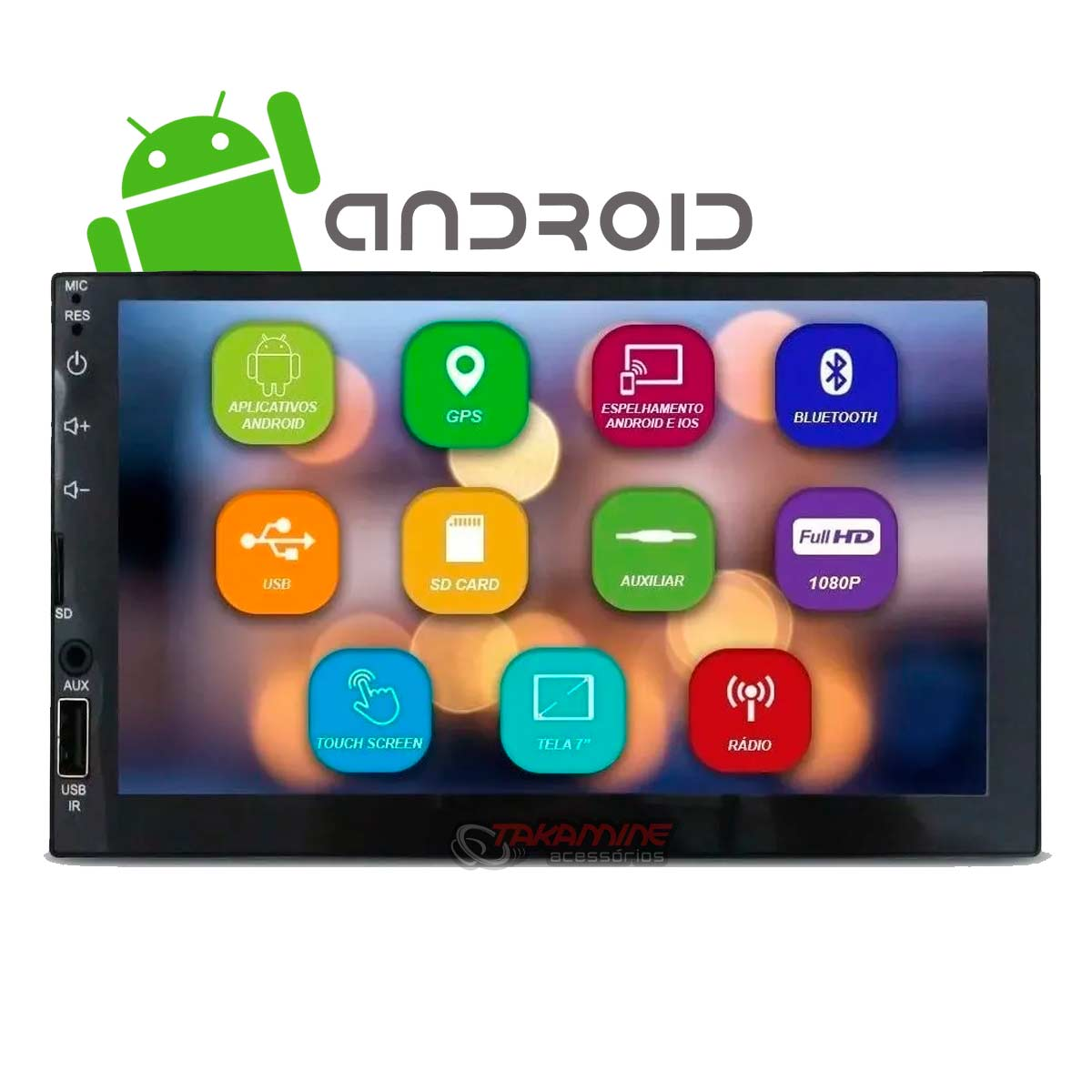 Aparelho 2 Din MP5 Android com Bluetooth, espelhamento celular Android e IOS, entrada USB