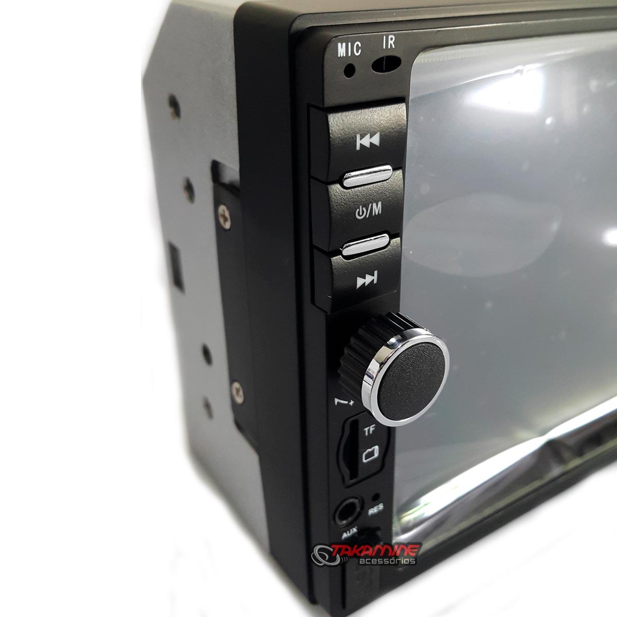 Aparelho 2 Din MP5 com controle de volante, bluetooth, espelhamento celular Android e IOS, entrada USB