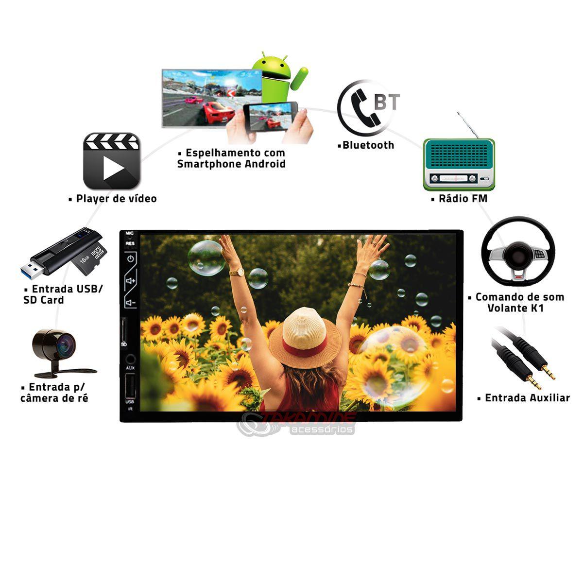 Aparelho 2 Din MP5 com Bluetooth, espelhamento celular Android e IOS, entrada USB