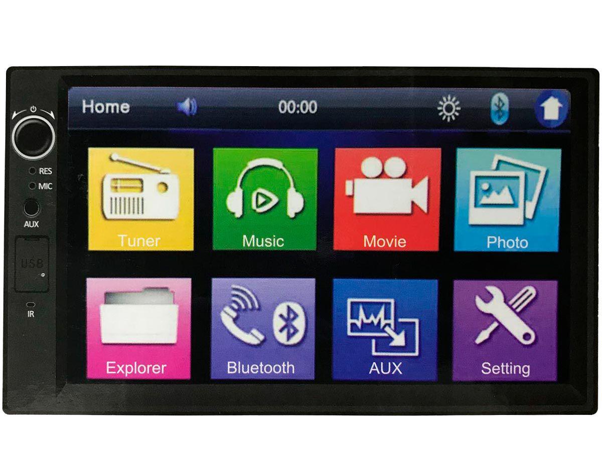 Aparelho 2Din com tecnologia Bluetooth, USB e Auxiliar frontais
