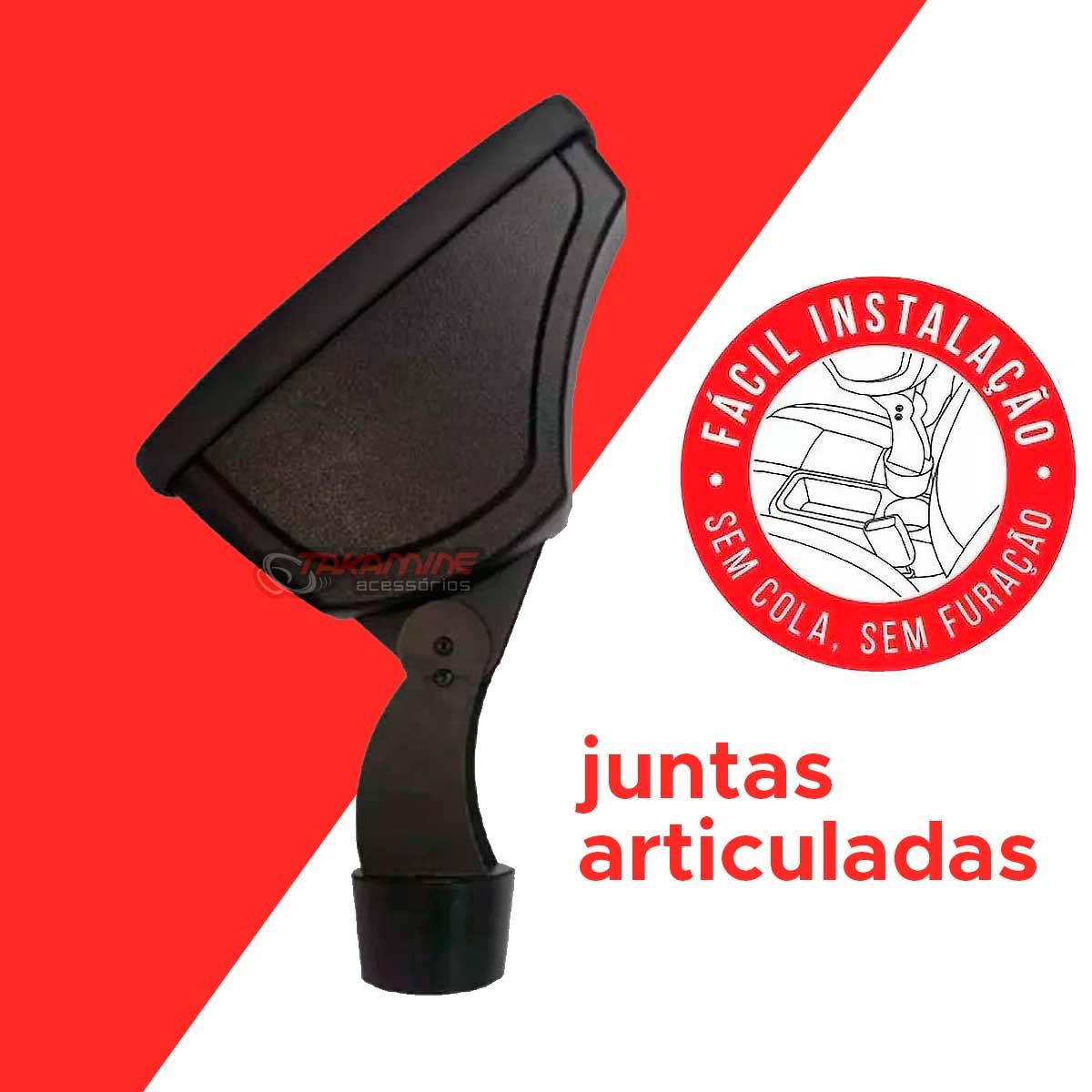 Apoio de braço Onix 2013 até 2020 Prisma 2012 até 2020 preto encaixe